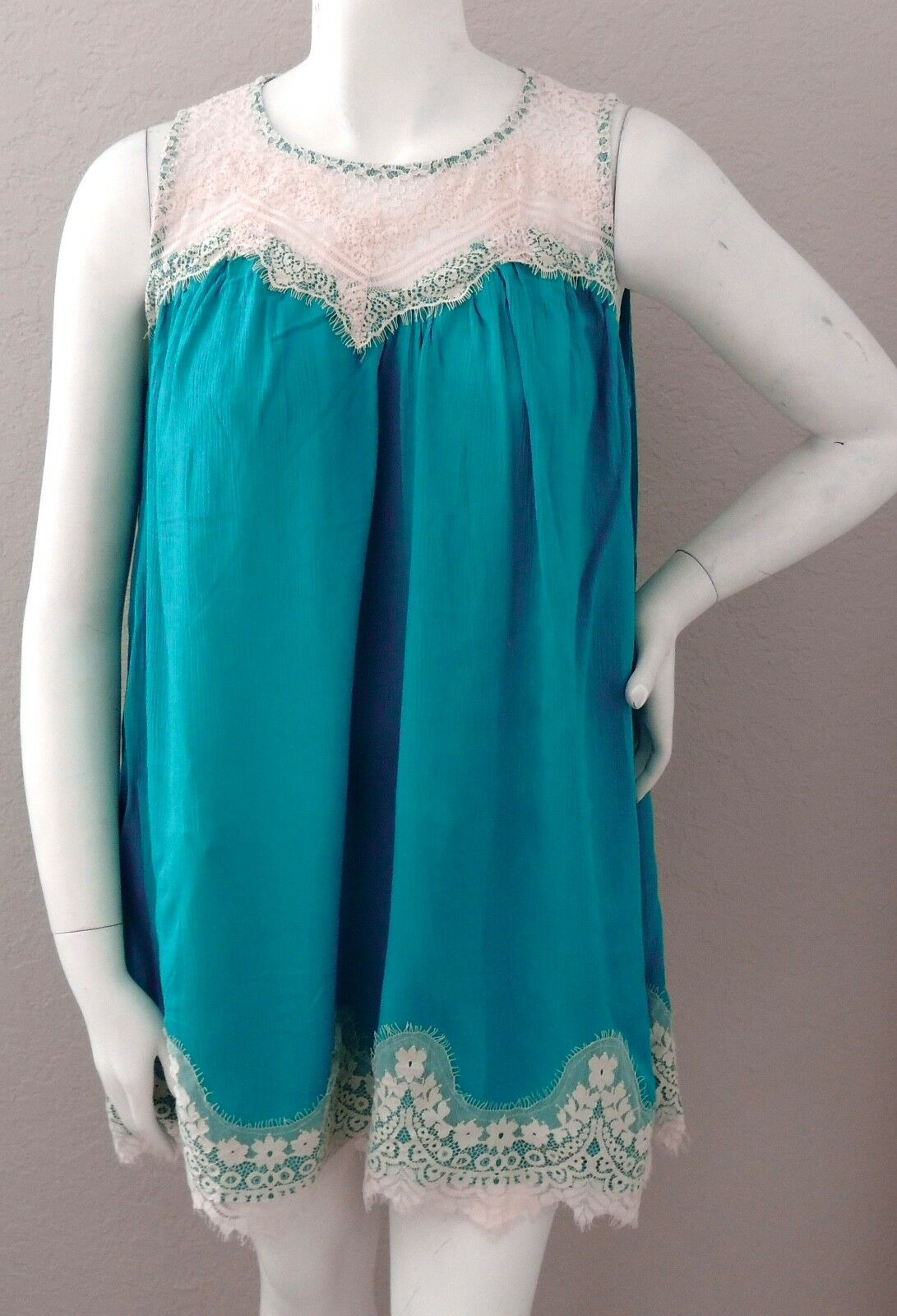 Umgee USA Lace Baby Doll Tunic Swing Dress Teal Blue Green P