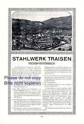 Stahlwerk Fischer Traisen XL Reklame 1914 Lilienfeld Waffenschmiede Munition