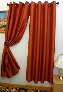 Chelsea  Faux Silk Window Curtain With  Grommets Rust Color