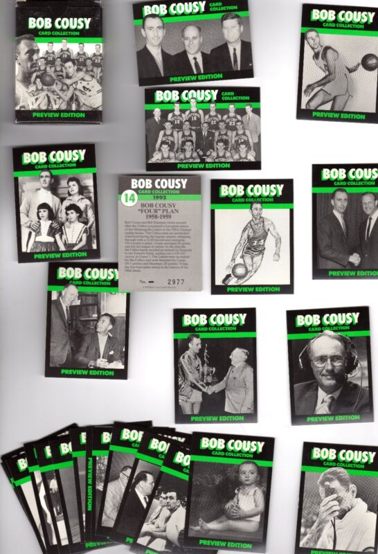 Bob Cousy Boston Celtics Card Set of 25 issued 1991 JFK