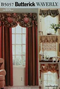 Butterick 5057 Waverly DRAPES & VALANCES Window Treatments Sewing PATTERN *NEW*