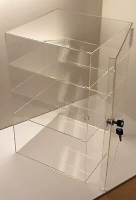 Acrylic Counter Top Display Case 8x 8 X19locking Cabinet Showcase Boxes