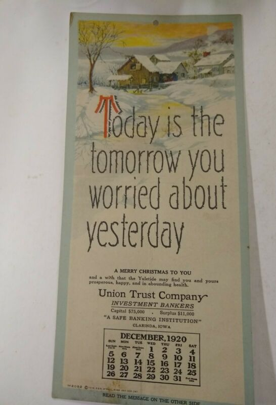 Union Trust Co Bankers Clarinda Iowa Dec. 1920 Calendar