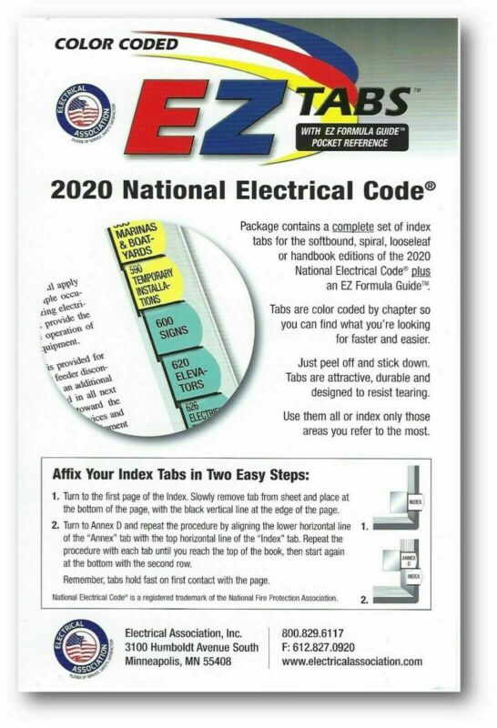 2020 Color Coded EZ Tabs with EZ Formula Guide Based based on NEC Code 2020