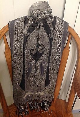 Elegant Unisex SCARF in SOFT Block, Gray and Silver Colors New Condition
