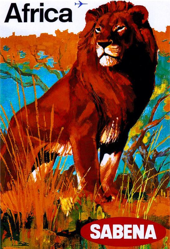 African Afrique Lion Airplane Africa Vintage Travel Art Poster Advertisement