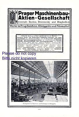 Maschinenbau Prag XL 1914 Reklame Smichow Königsgrätz Adamsthal Ruston +