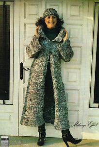 Ladies Easy Knit Chunky Retro Long Coat knitting pattern.Laminated vintage copy.