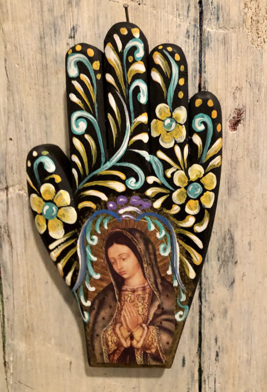 VIRGIN GUADALUPE Painted Wood Hand, Right Hand, Mexican Folk Art