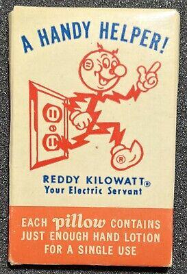 Vintage 1950s Reddy Kilowatt Handy Helper Hand Lotion Pillow Advertisement