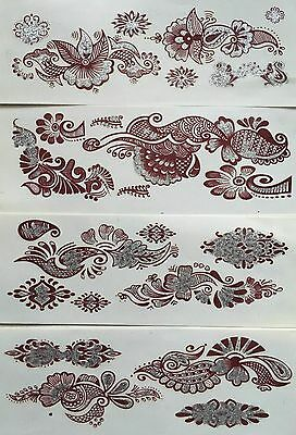 Maroon-design (Various Maroon Design & SILVER Glitter Temporary Body Tattoos x 4 Sheets *OFFER*)