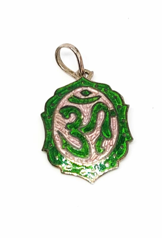 Chinese export OM green and white vintage sterling silver pendant 925