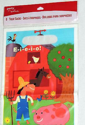 BARNYARD EIEIO/ FARM   8-PLASTIC LOOT BAGS, BIRTHDAY-CHILD  PARTY SUPPLIES](Barnyard Birthday Party Supplies)
