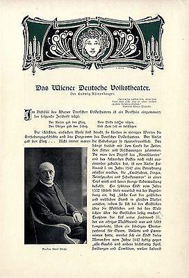 Ludwig Klinenberger Das Wiener Deutsche Volkstheater Direktor Adolf Weiße v.1911