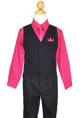 Pinstripe Boys Easter, Recital, Vest Suit Set, Fuchsia/Black,Size: 2T to 14