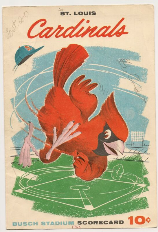1960 St. Louis Cardinals-Reds Program/Scorecard Purkey Blanks Redbirds NICE!!