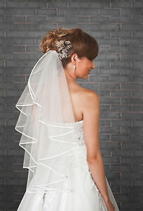 1-Tier-Ivory-White-Wedding-Bridal-Elbow-Satin-Edge-Veil-Length-28-VL-41