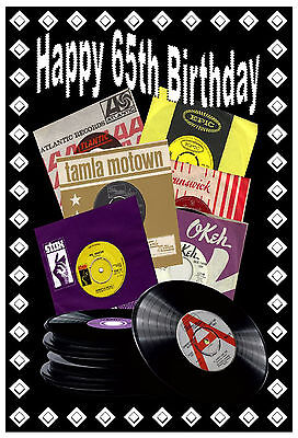 northern soul 65th birthday card gloss finish
