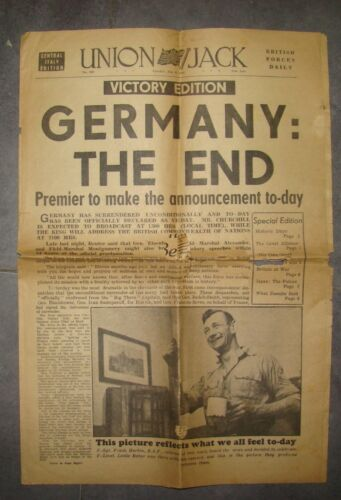 Union Jack British Forces Daily Newspaper WW2 End Victory Edition May 8 1945