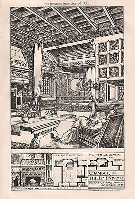 """1881 ANTIQUE ARCHITECTURAL PRINT LONDON-CHAMBER IN """"THE LIMES"""", DULWICH"""