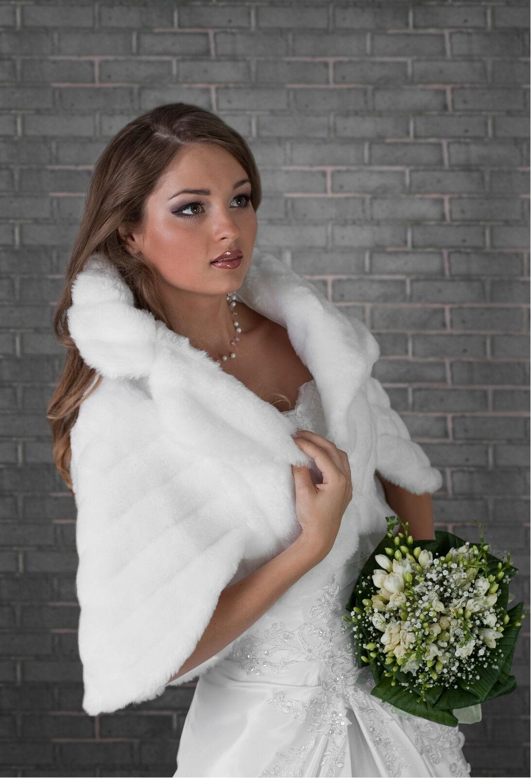 New Womens Wedding Faux Fur Bridal Shawl Wrap Stole Shrug Bolero Cape S M L Xl