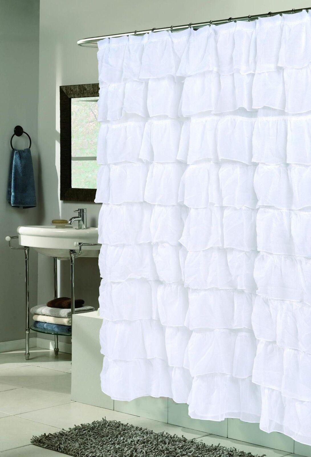 Carmen Ruffle Fabric Shower Curtain - Crushed Voile Ruffled