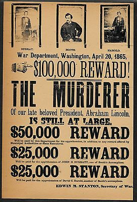 John Wilkes Booth Wanted Poster Reprint On 100 Year Old Paper *170