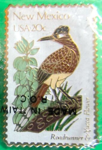 1982 NEW MEXICO STATE BIRD ROADRUNNER FLOWER YUCCA USPS 20c STAMP PIN (44)