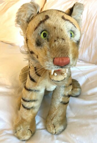 "Rare Vintage Steiff Bengal Tiger 17.5"" Button Extra-Large 60s Open Mouth Sitting"