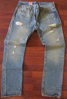 Levi's 501 Arranged Leg Jeans Men Size 34 X 36 Vintage Distressed Wash - NEW