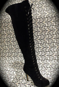 NINE WEST Black Over The Knee Suede Boots Size 8.5 NEW RRP$400 Lace Up High Heel