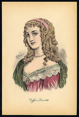 Antique print-HAIRSTYLE-WOMAN-PORTRAIT-LOUIS XIII-R. Maury-Nissy-1910