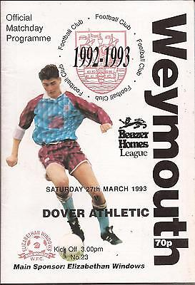Football Programme   Weymouth V Dover Athletic   Beazer Homes League 1993