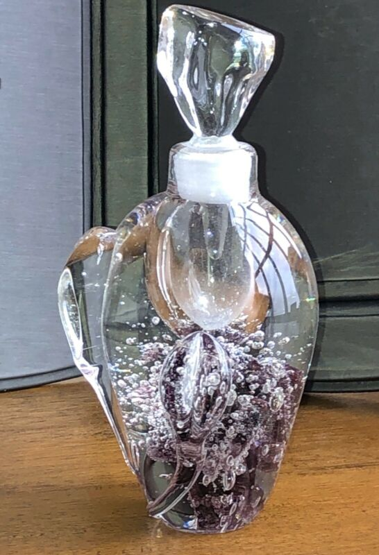 "CLEAR GLASS AND PURPLE HEAVY MURANO STYLE PERFUME BOTTLE 6.5"" #1017"