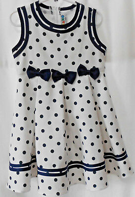 (Girls 4 Piano Kids Fashion, white wt. navy polka dots & trim dressy dress)