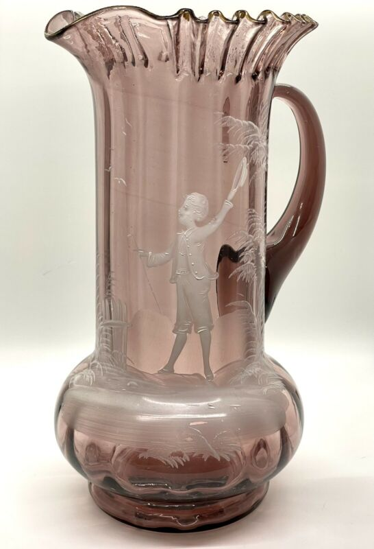 Antique 1890s Mary Gregory Amethyst Glass Ruffled Pitcher Rib Optic Hand Painted