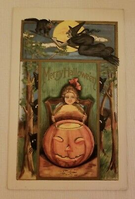 Vintage Picture Postcard PPC Merry Halloween Girl With Pumpkin Witch Black Cats