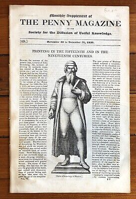 BEST 1837 newspaper  FRONT PAGE ENGRAVING of JOHANNES GUTENBERG Incunable