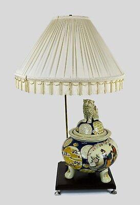 Vintage Oriental Table Lamp Porcelain Foo Dog Footed Vase Repurposed