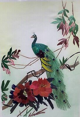 Vintage Oriential Mixed Media Organic Bamboo Peacock Floral Flowers Collage Art