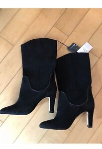 New Zara Black Suede Leather Boots Heels size 38 8 7.5