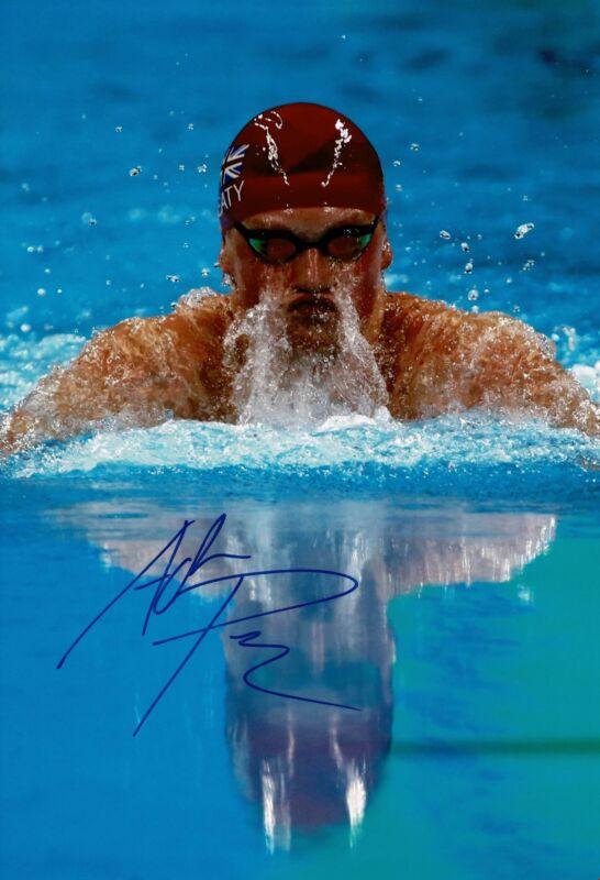 Adam Peaty Signed 12X8 Photo Rio 2016 Tokyo 2020 Genuine Signature AFTAL COA (D)