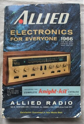 1966 MID-CENTURY ALLIED ELECTRONICS FOR EVERYONE CATALOG ALLIED RADIO 504 pages