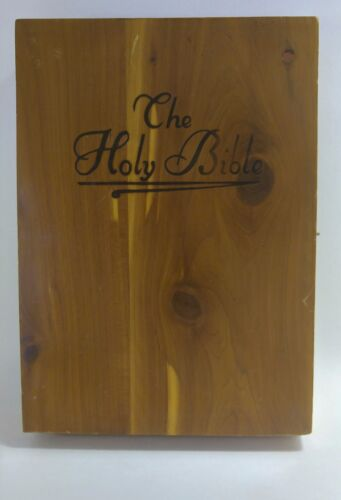 Vintage 1958 Holy Bible Wood Box Memorial Edition Union Made Illustrated Cedar