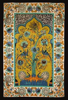 - Cotton Tree of Life Floral Tapestry Peacock Tablecloth Rectangular Green 85x60