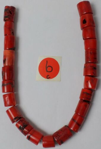 """14"""" Strand 22 Gorgeous Real Red Coral Gemstone Quality Barrel Drum Beads 12-20mm"""