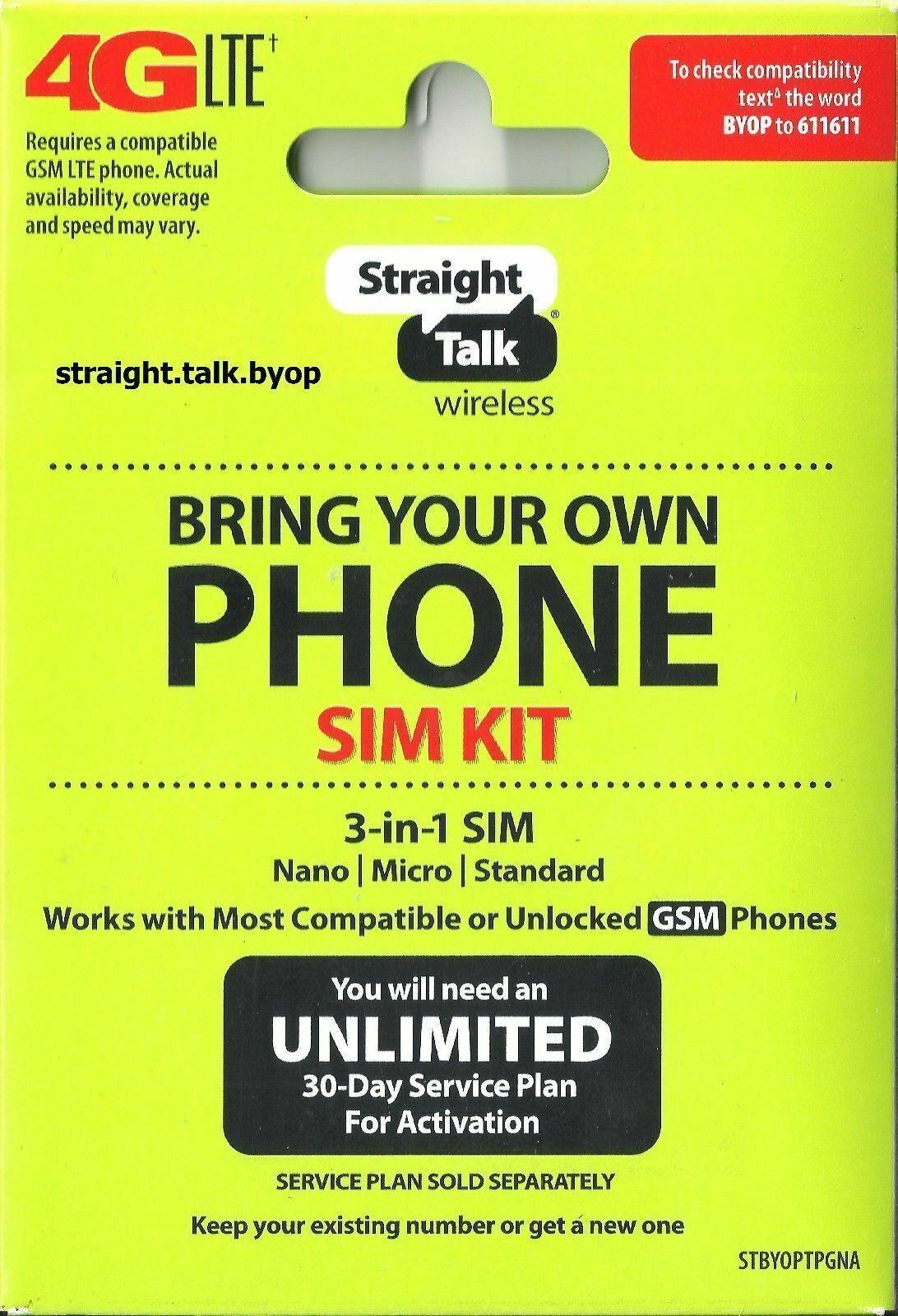 Straight Talk SIM Card Network Activation Kit Verizon, AT&T,