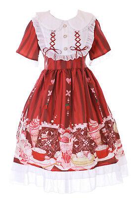 JSK-70-1 Rojo Teatime Desert Conejo Gato Oso Vestido Pastel Goth Lolita Cosplay