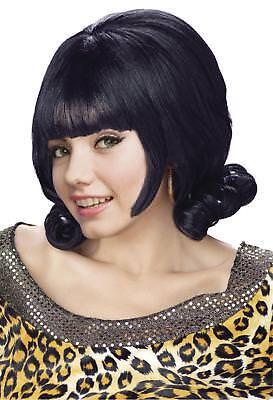 ADULT HAIRSPRAY GREASE 60'S BLACK MINI FLIP WIG COSTUME ACCESSORY - Black Hair Spray Halloween