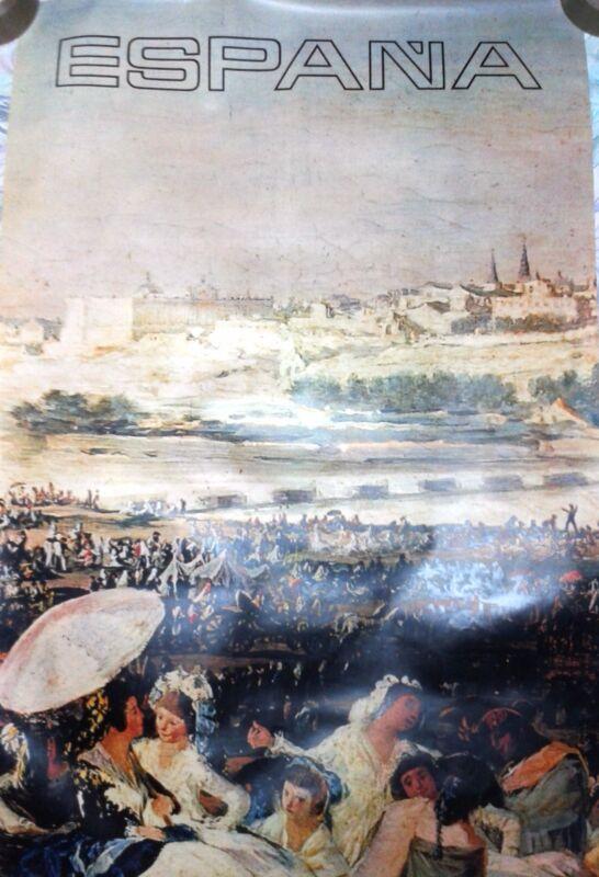 Vintage rare travel poster Spain Pradera de San Isidro Francisco de Goya